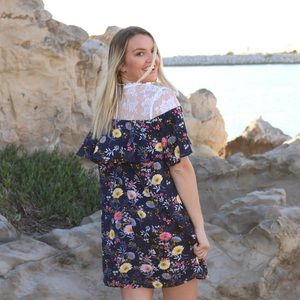 navy floral lace dress